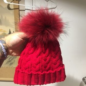 Red Faux Fur Hat